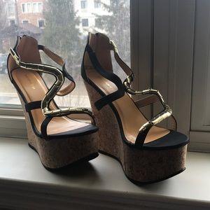 Shoe Republic LA Black/Gold Wedges